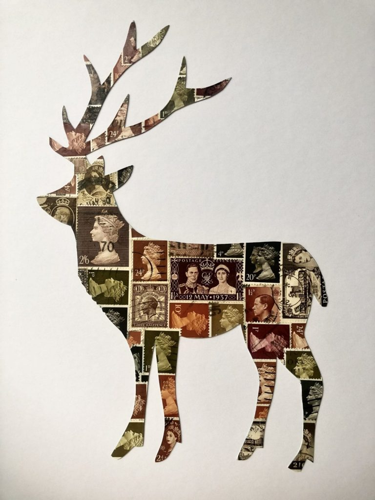 Stag made from vintage British postage stamps