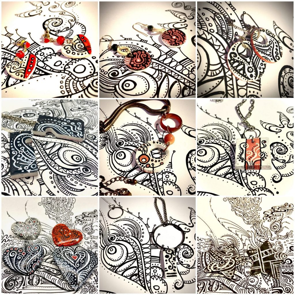The Doodle Series - earrings, pendents & brooches made from polymer clay and covered in hand drawn doodles.