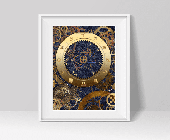 Brass and Leather ARTstrology chart in blue