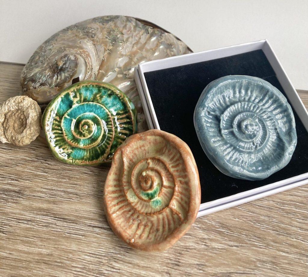 Ammonite Imprint ceramic brooches