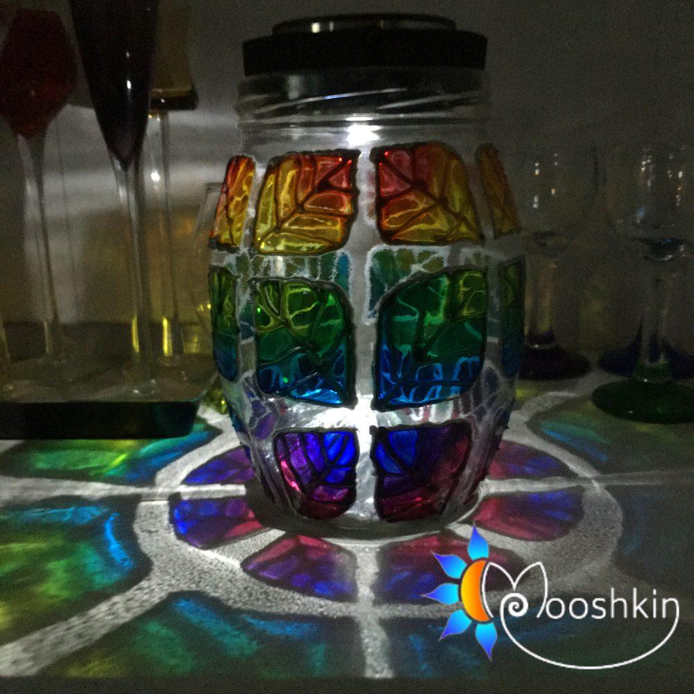 Hand painted rainbow solar lantern by Mooshkin