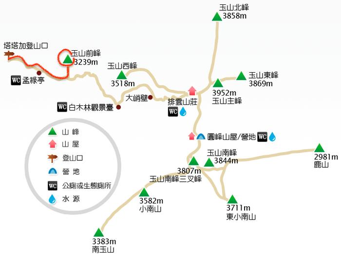 玉山前峰地圖