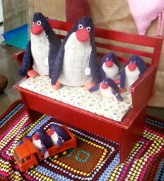 """One of my favourite stalls is """"Wol Wolfje"""", which makes toys from (I think) recycled sweaters. The penguin family were cute, but it was a Dr Seuss tree with purple bark and lime green leaves that nearly came home with me."""