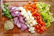 chop vegetables, cook in vegetable stock, add lentils, cook futher 20 mins