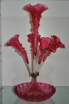 cranberry glass epergne