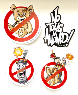 No Toys Allowed street art sticker pack