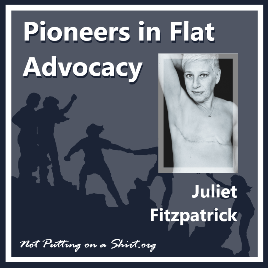 Infographic of blog series Pioneers in Flat Advocacy - aesthetic flat closure public figures - model and blogger Juliet Fitzpatrick of the UK blog Blooming Cancer