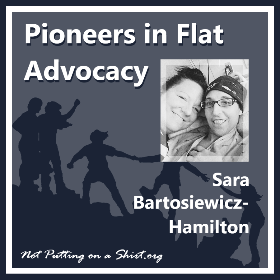 Infographic of blog series Pioneers in Flat Advocacy - aesthetic flat closure public figures - Sara Bartosiewics-Hamilton of Flat & Fabulous