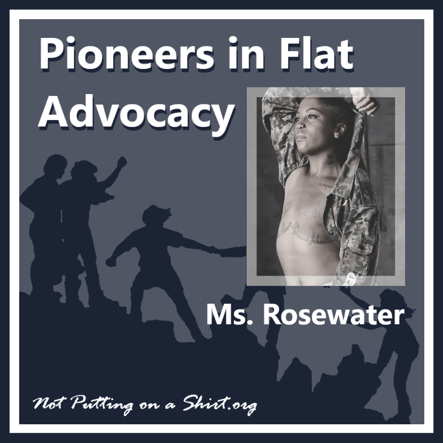 Infographic of blog series Pioneers in Flat Advocacy - aesthetic flat closure public figures - musical artist Ms. Regina Rosewater