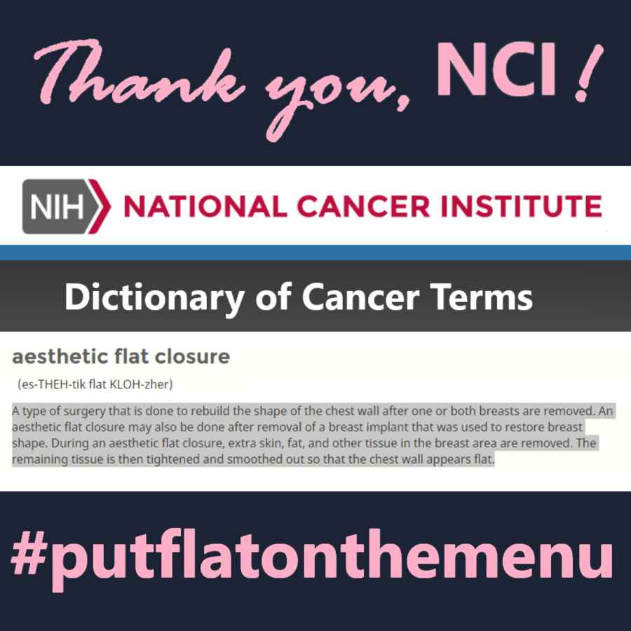 #notputtingonashirt infographic - thank you National Cancer Institute for working to #putflatonthemenu by defining #aestheticflatclosure in the NCI Dictionary of Cancer Terms