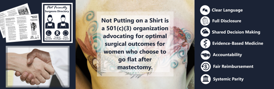 Infographic - social media banner for #notputtingonashirt - pictured: Flat Friendly Surgeons Directory, Protect Your Choice brochures, mission, and core values