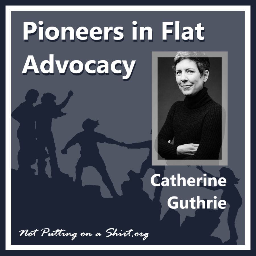 Infographic of blog series Pioneers in Flat Advocacy - aesthetic flat closure public figures - author and womens health journalist Catherine Guthrie