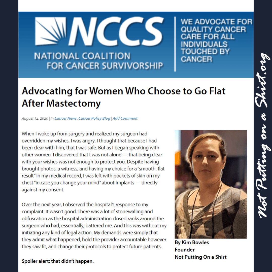 Guest post NCCS NPOAS Founder Kim Bowles advocating for aesthetic flat closure choosing flat after mastectomy
