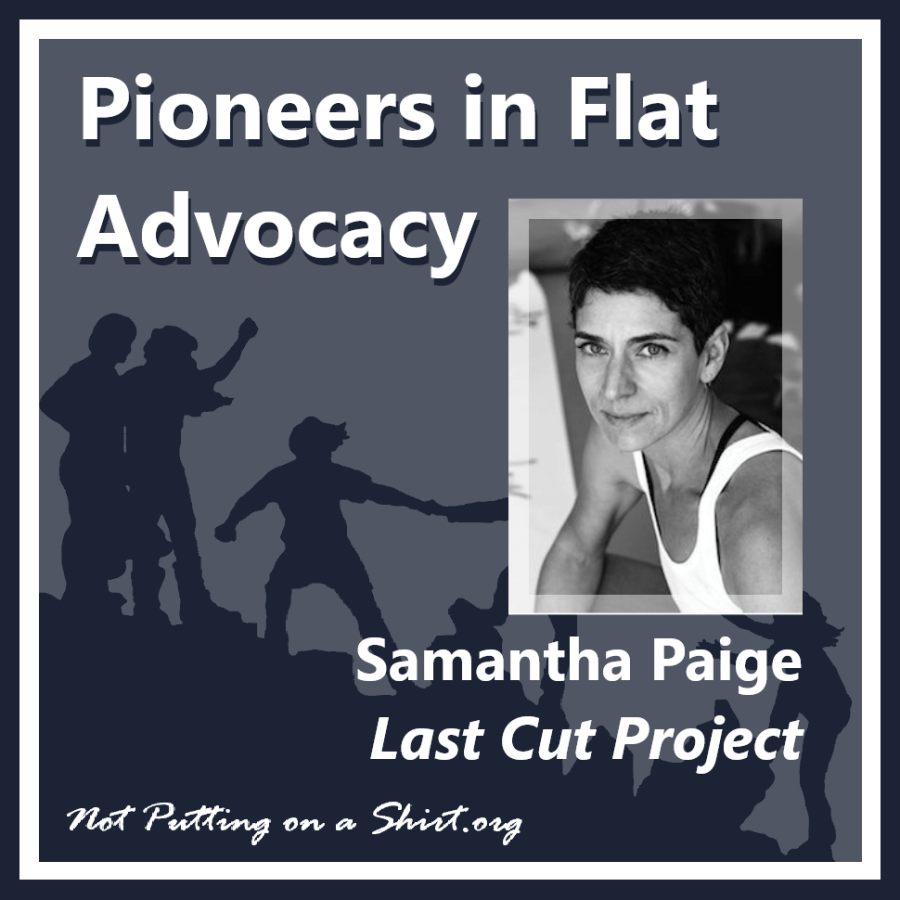 Infographic of blog series Pioneers in Flat Advocacy - aesthetic flat closure public figures - author and artist Samantha Paige of Last Cut Project
