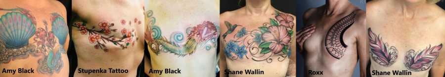 Full color collage of  mastectomy tattoos - mastectomy with aesthetic flat closure decorative tattoo art