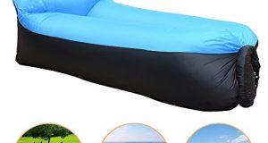 iregro chaise gonflable portable etanche durable poids leger polyester air sofa exterieur avec oreiller pour camping parc plage jardin