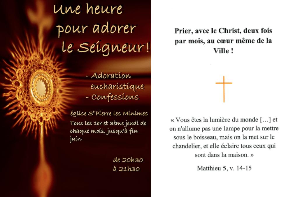 Adoration Eucharistique le jeudi 7 novembre de 20h30 à 21h30 à Saint-Pierre-les-Minimes