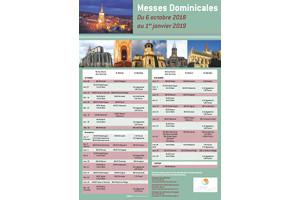 Horaires des messes dominicales du 6 octobre au 1er janvier 2019