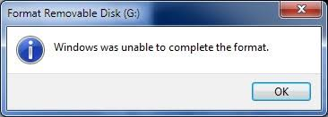 Fix up Windows was unable to complete the format