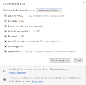 Clear Chrome Browsing data to fix ERR_SPDY_PROTOCOL_ERROR