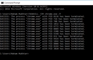 Command Prompt Taskkill