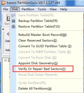 PartitionGuru disc formatting