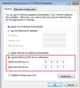 Use the following dns server
