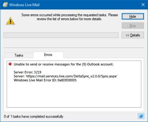 server error 3219 windows live mail