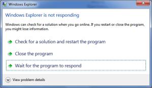 Program not Responding Error