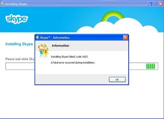 Skype installation Error 1603
