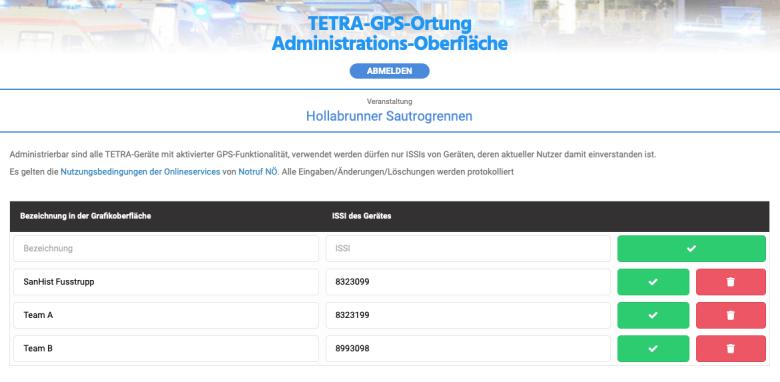 Webansicht GPS-TETRA-Admin