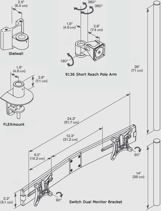 innovative-9136-multi-monitor-switch-pole-arm-drawing