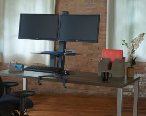 TaskMate Go Sit Stand Dual Monitor with Large Work Surface