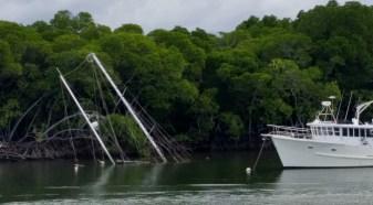 Sunken ship in the harbour