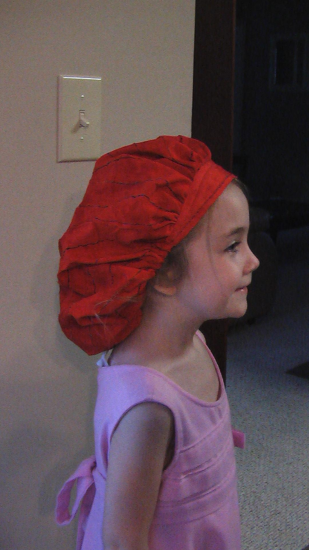 Reagan models the hat