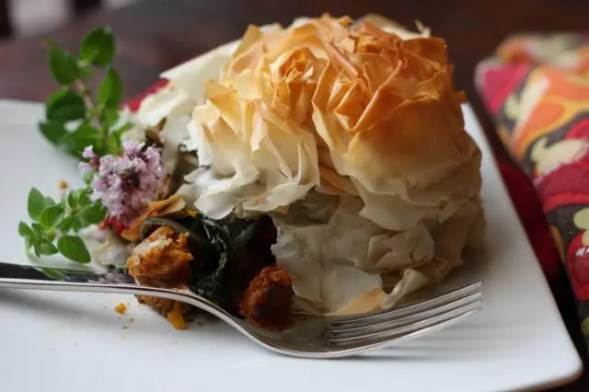 Roasted veg under phyllo pastry.