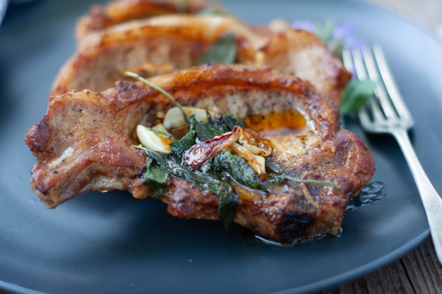 butter sage pork chops