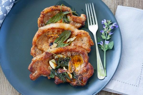 Sage butter pork chops.