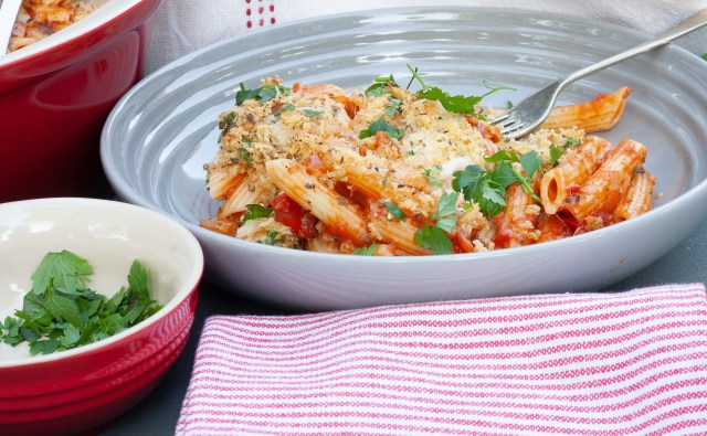 Chicken parmesan ziti bake.