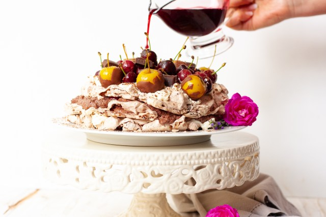 Cherry and chocolate mousse pavlova