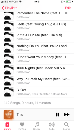 My music playlist! All Ed Sheeran songs!
