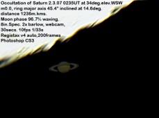 Saturn occultation (by Bryan Lilley)