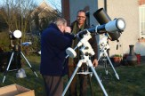 Lesley checking out Richard's SkyWatcher