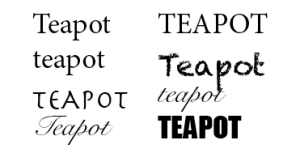 The word teapot in different typefaces