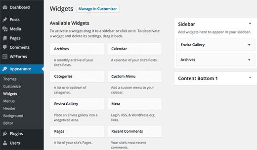 WordPress উইজেট