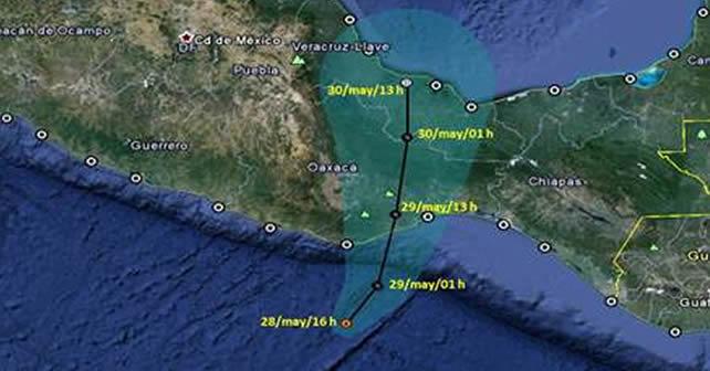 Mapa de trayectoria de la Tormenta Tropical Bárbara. Imagen Servicio Metereológico Nacional