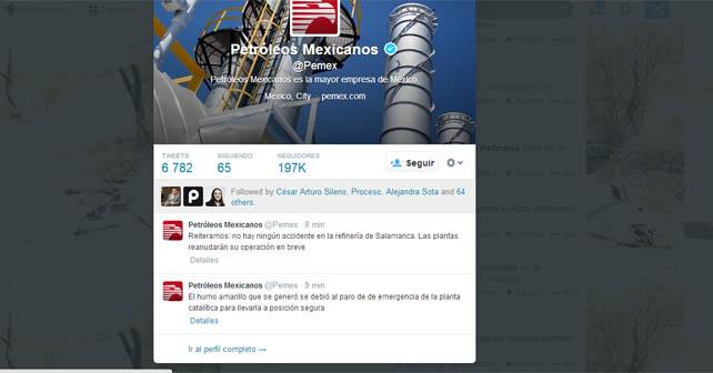 PEMEX desfoga azufre en Salamanca y Veracruz, falla energía eléctrica.