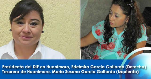 Presidenta del DIF en Huanímaro Edelmira García Gallardo (Derecha), Tesorera de Huanimaro María Susana García Gallardo (Izquierda)