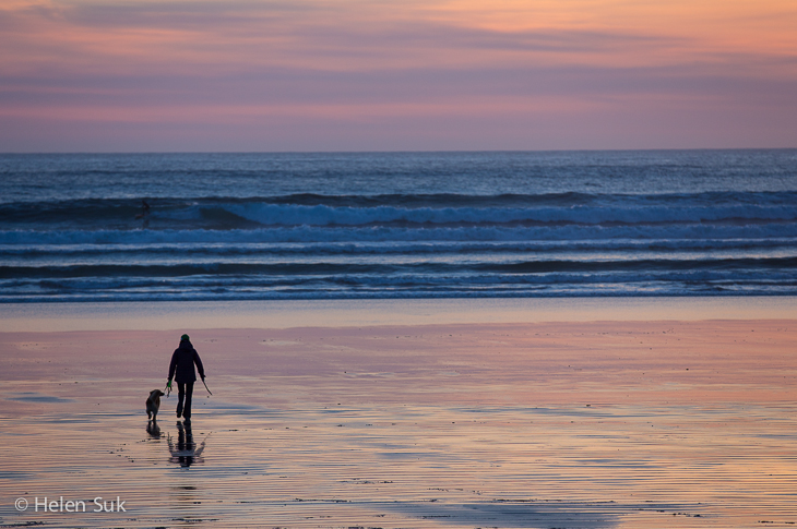 man walks his dog on the beach during a spectacular sunset in tofino