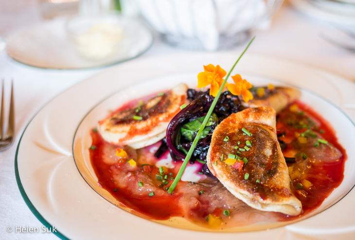 duck perogi appetizer at churchills restaurant digby pines golf resort and spa